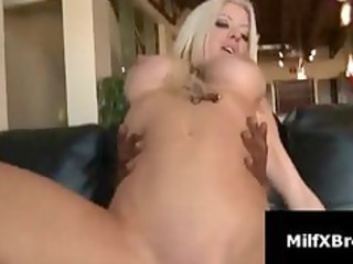 lascivious blond mother i rides darksome cock on