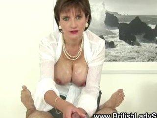 breasty older lady sonia gives handjob