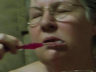 grannys cum toothbrush