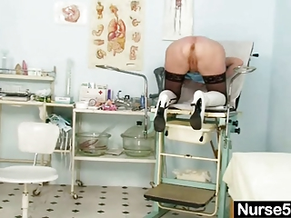 golden-haired granny nurse self exam with pussy