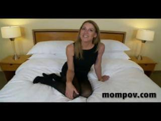 aged blond housewife gives him a blowjob, handjob