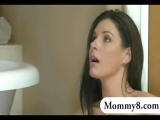 tight stepmom and teen angel three-some sex in