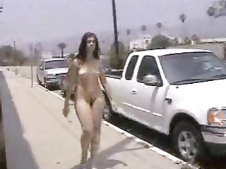 public nudity--curvy gal walking