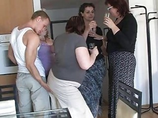 four horny mamas seduced cute guy to coll group