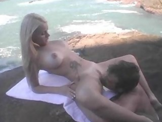 astounding golden-haired group-fucked beach-side