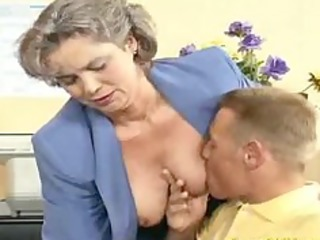 avid old mom gets weenie drilled and office