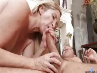 golden-haired granny is sex starved and sucks and
