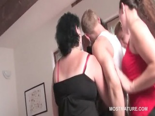 mature fuckfest hoes engulf cock and take up with