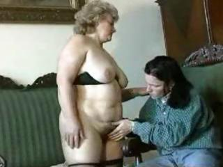 fat, golden-haired granny receives licked, blows,