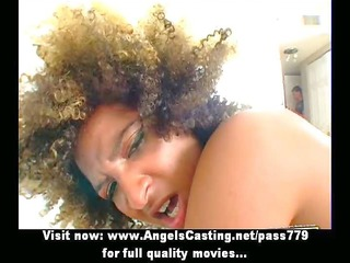 shaggy haired darksome lady getting drilled hard