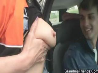 blond granny gets taken to the woods and nailed