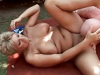 breasty grandma enjoying hard sex outdoor