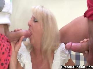 blond granny in sexy threesome fuckfest