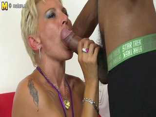 sexy white mommy in an interracial orgy