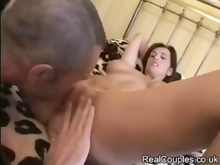 brunette angie george receives licked and banged