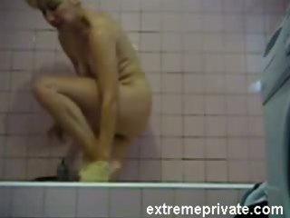 hidden cam my blond mommy in washroom