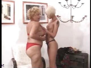 granny and young lesbo meet and have trio nice