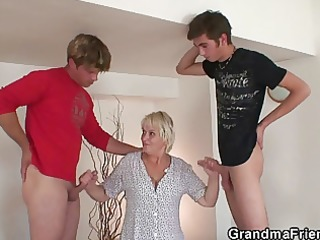 hot threesome with old golden-haired