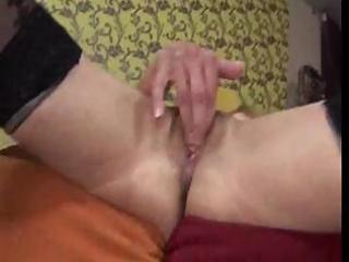 skinny granny uses sex tool and gets her wet