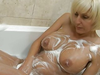 playful golden-haired mother i with big bosom