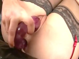 miss prington black nylons plays with a vibrator