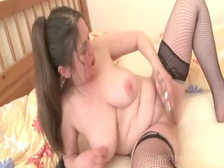 aged in fishnets reaches agonorgasmos with fake