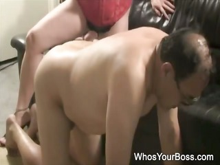 mature fellow getting tortured by a busty femdom
