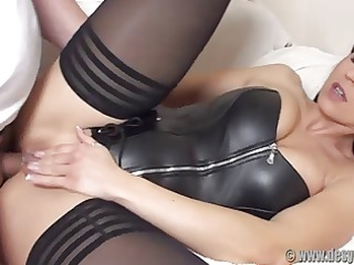 wazoo fucked in a darksome leather corset and