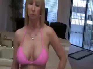 golden-haired mom is sucking on the neighbour