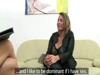 mature chick fucking on leather daybed