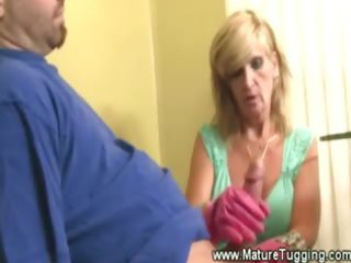 concupiscent older mother i tugs cock with gloves