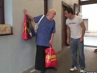 lewd juvenile guy bangs old blonde woman mature