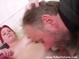 hairy-snatched redhead receives her bush combed