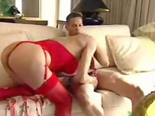 exquisite mom in red gives tip