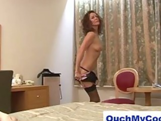 Horny mature lady gives cheeky guy a harsh handjob