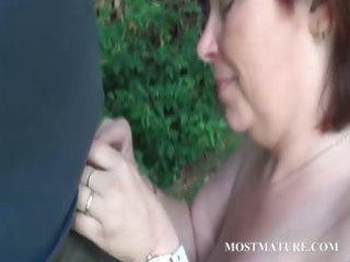 undressed mom blows hard weenie outdoor