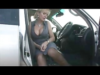 busty in nylons in the car