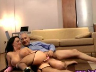 large titted brunette hair is pussyfucked by aged