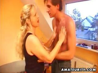 breasty dilettante golden-haired milf blows his