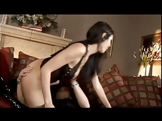 shy luv has wild sex on sofa with built chap
