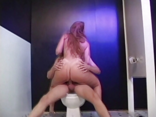 sexy golden-haired aged gangbanged in bathroom