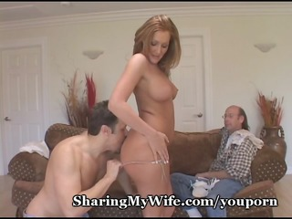 wife has friends balls slapping against her snatch