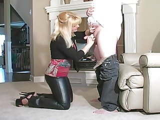 sexy hottie bj in leather pants and heels