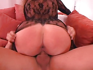 german wife large boobs in hawt catsuit laid
