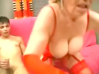 granny in red stockings strapons the guy