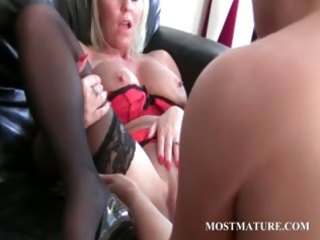 bitchy golden-haired lesbo dildoes mature snatch
