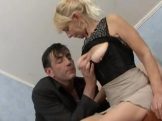 blond granny receives a cock to engulf and fuck