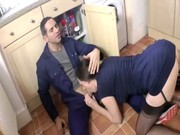 watch mature british housewife clean the plumbers