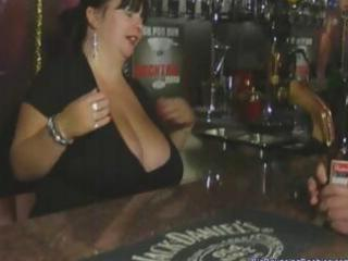 chunky british aged barmaid with giant bumpers