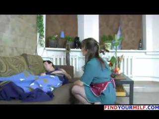 dark brown russian mamma in stockings wakes him